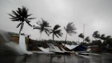 Gusty winds preceding the landfall of cyclone Fani