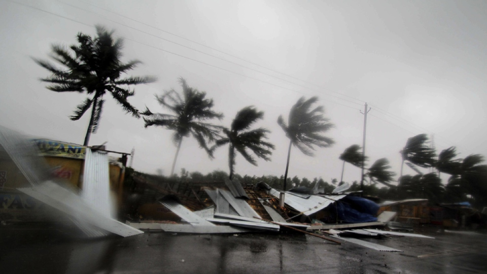Gusty winds preceding the landfall of cyclone Fani on the outskirts of Puri, India, on May 3, 2019. (AP)