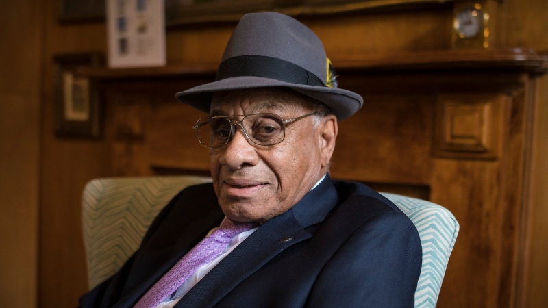 Willie O'Ree, poses for a photo during an interview in Toronto on Wednesday, May 1, 2019. It's been 60 years since Willie O'Ree broke the National Hockey League's colour barrier and he still hears racial remarks in the rink. (THE CANADIAN PRESS/Tijana Martin)