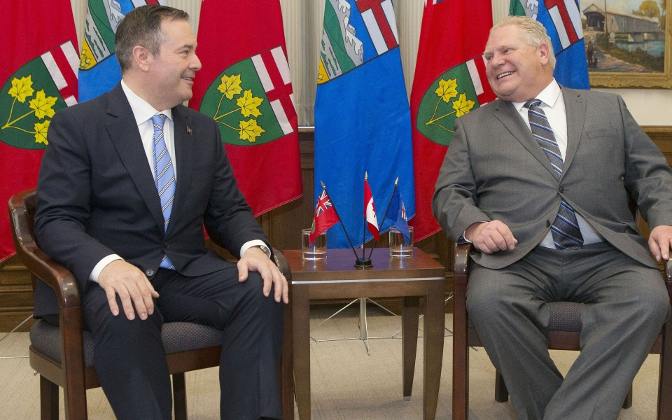 Ontario Premier Doug Ford, right, poses with Alberta Premier Jason Kenney at the Ontario Legislature in Toronto on Friday,May 3, 2019. THE CANADIAN PRESS/Chris Young