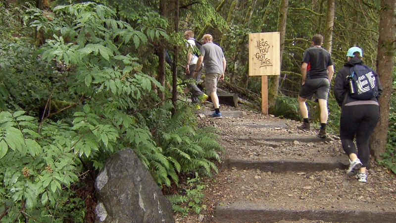 Hikers head up the Grouse Grind on Friday, May 3, 2019.