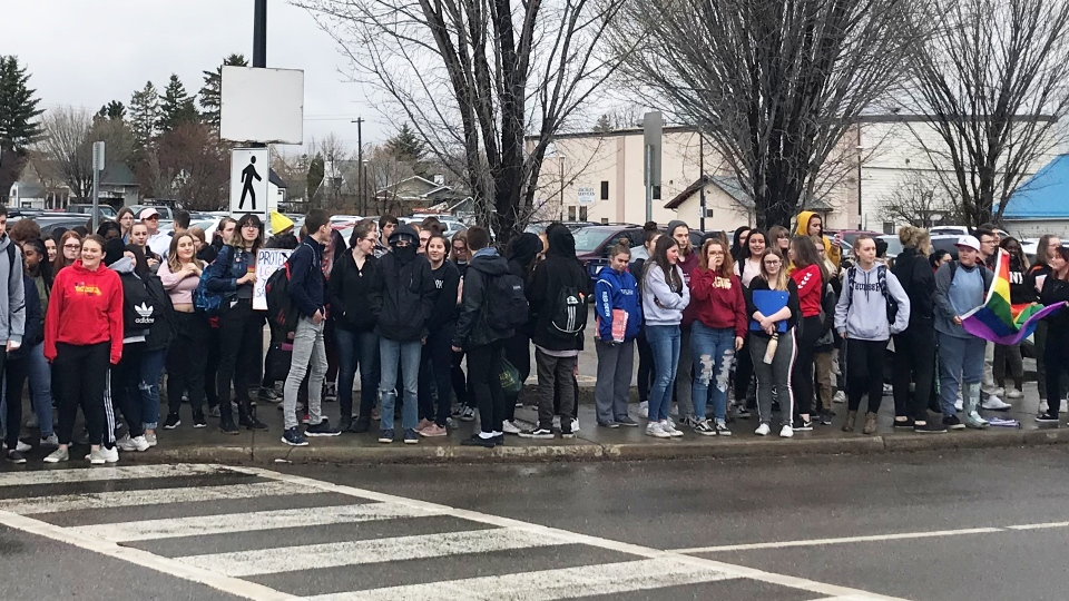 Dozens of students at Lindsay Thurber school in Red Deer walked out of school on May 3 to protest possible changes to GSAs in school. (TYSON FEDOR/CTV EDMONTON)