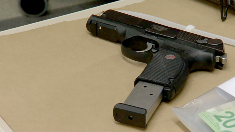 A handgun seized by police as part of Project Rocket, a two-year investigation into suspected drug dealing by members of the Syndicate outlaw motorcycle club.