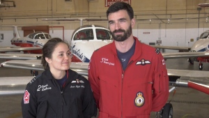Married Snowbirds Capt. Kevin Domon-Grenier and Capt. Sarah Dallaire in Comox on May 3, 2019. (CTV Vancouver Island)