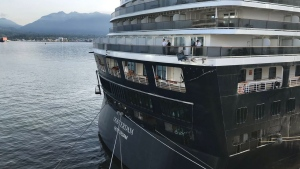 This twitter image shows minor damage on the MS Oosterdam after if collided with another cruise ship at Canada Place on may 4, 2019. (Ken Carrusca / Twitter)