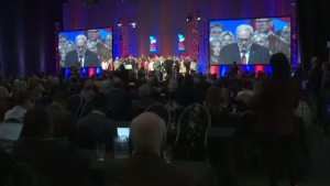 Quebec Liberal Party interim leader Pierre Arcand addresses the crowd at the party's general council meeting on Sat., May 4, 2019.