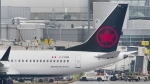 An Air Canada Boeing 737 Max 8 aircraft is shown next to a gate at Trudeau Airport in Montreal on March 13, 2019. Air Canada says it is removing its grounded Boeing 737 Max jets from service until at least Feb. 14 in order to provide more certainty for passengers with summer travel plans. THE CANADIAN PRESS/Graham Hughes