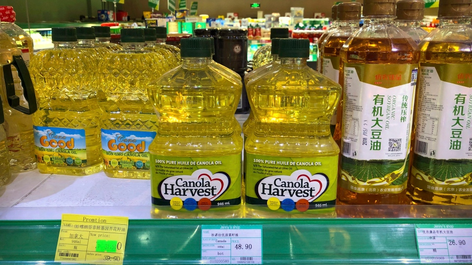 In this March 6, 2019, file photo, bottles of Canola Harvest brand canola oil, manufactured by Canadian agribusiness firm Richardson International, are seen on a shelf of a grocery store in Beijing. (AP Photo/Mark Schiefelbein, File)