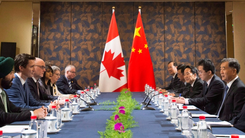 Prime Minister Justin Trudeau meets with Chinese Vice Premier Wang Yang at the Fortune Global Forum in Guangzhou, China, on Wednesday, Dec. 6, 2017. THE CANADIAN PRESS/Sean Kilpatrick