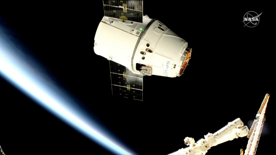 In this image taken from NASA Television, a SpaceX shipment prepares to arrive at the International Space Station following a weekend launch, Monday, May 6, 2019. The Dragon capsule reached the orbiting complex Monday, delivering 5,500 pounds (2,500 kilograms) of equipment and experiments. (NASA TV via AP)
