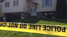 Police tape lines the area in front of a home on Heather Street in Barrie on Mon, May 6, 2019 where a man was allegedly killed overnight. (CTV News/ Rob Cooper)