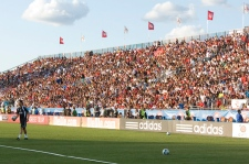 Real Madrid's Portugese winger Cristiano Ronaldo is watched by a packed stand during a practice session at BMO field ahead of their exhibition game against Toronto FC in Toronto on Thursday, Aug. 6, 2009. (Chris Young / THE CANADIAN PRESS)