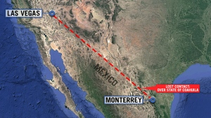 The jet left Las Vegas Sunday afternoon and had been expected Sunday evening in Monterrey, but never arrived.