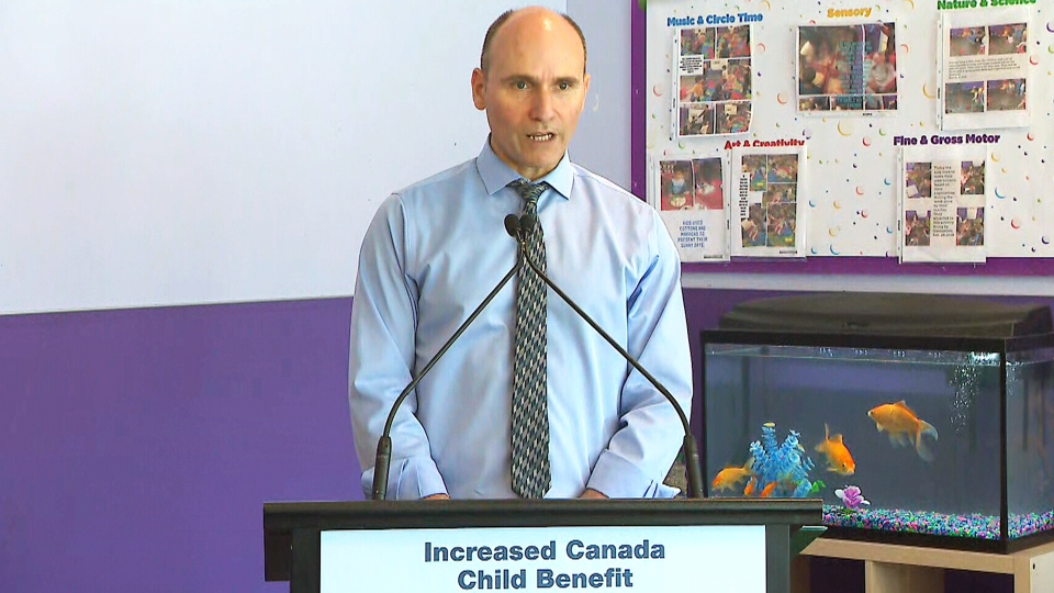 Federal Minister of Families, Children and Social Development Jean-Yves Duclos makes an announcement on the Canada child care benefit, in Barrie, Ont., Monday, May 6, 2019.
