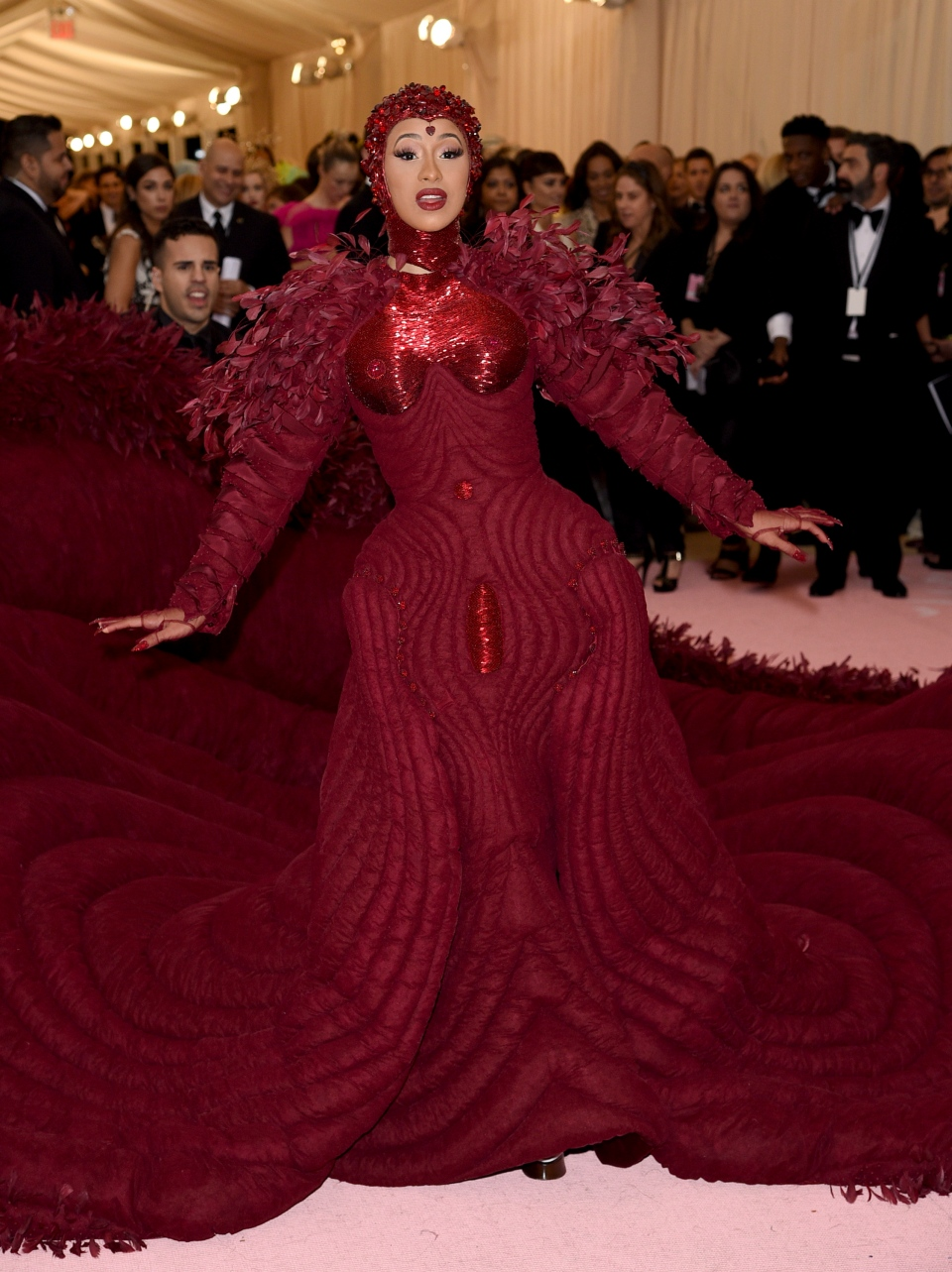 """Cardi B attends The Metropolitan Museum of Art's Costume Institute benefit gala celebrating the opening of the """"Camp: Notes on Fashion"""" exhibition on Monday, May 6, 2019, in New York. (Photo by Evan Agostini/Invision/AP)"""