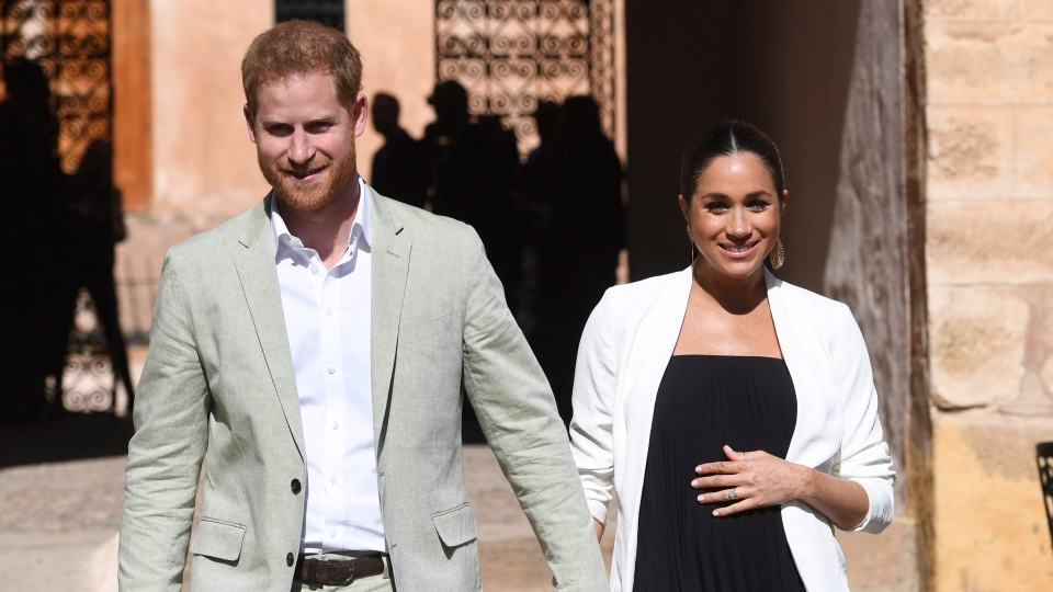 In this Monday, Feb. 25, 2019 file photo, Prince Harry and Meghan, Duchess of Sussex visit the Andalusian Gardens in Rabat, Morocco, Monday, Feb. 25, 2019. (Facundo Arrizabalaga/Pool Photo via AP, File)