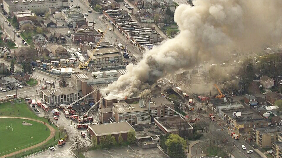 A massive fire tears through a Toronto high school on May 7, 2019.