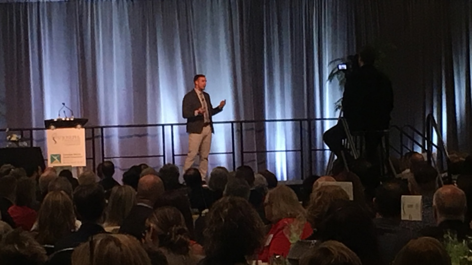 Mark Lukach shares his mental health journey at the Breakfast of Champions in London, Ont. on Tuesday, May 7, 2019. (Celine Moreau / CTV London)