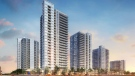 Five towers will contribute to the Waterloo skyline, according to a conceptual masterplan. (Source: Killam REIT)
