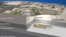 A diagram shows the proposed burial of nuclear waste at Bruce Power's site near Lake Huron, Ont.