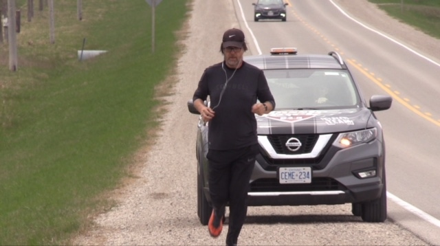 Phil Main started running across Midwestern Ontario for mental health awareness on Monday, May 6, 2019. (Scott Miller / CTV London)