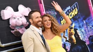 "Actor Ryan Reynolds, left, is joined by his pregnant wife, actress Blake Lively at the premiere of ""Pokemon Detective Pikachu"" at Military Island in Times Square on Thursday, May 2, 2019, in New York. (Photo by Evan Agostini/Invision/AP)"