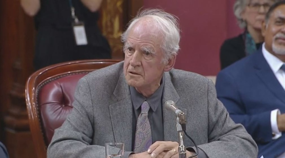 Charles Taylor speaks on the first day of hearings into Quebec's Bill 21, banning religious symbols for some public employees.