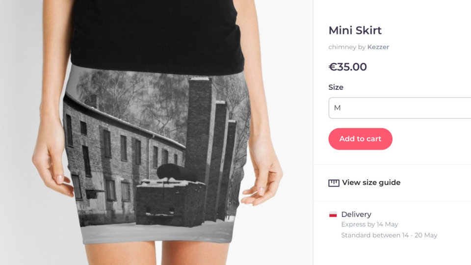 A screenshot shared by the Auschwitz Memorial shows a miniskirt with an image of the concentration camp.
