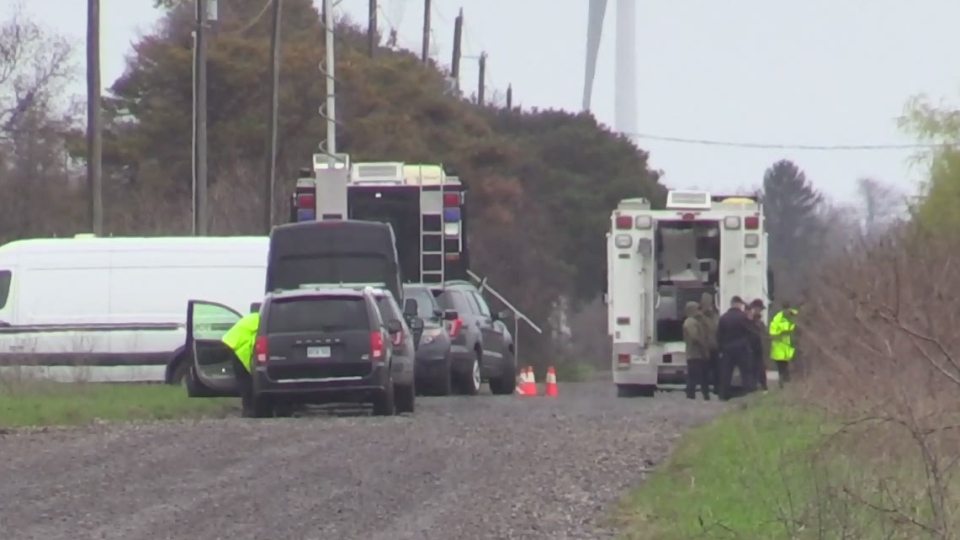 OPP investigate the area where human remains were found near Port Burwell, Ont. on Tuesday, May 7, 2019. (Gerry Dewan / CTV London)