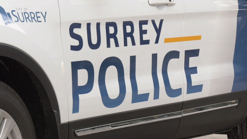 A Surrey police decal is seen on a mock-up SUV meant to give the public a first glimpse at what the incoming force will look like.