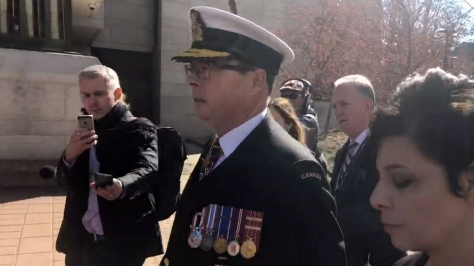 Vice-Admiral Mark Norman arrives for his court appearance, Wednesday May 8, 2019.