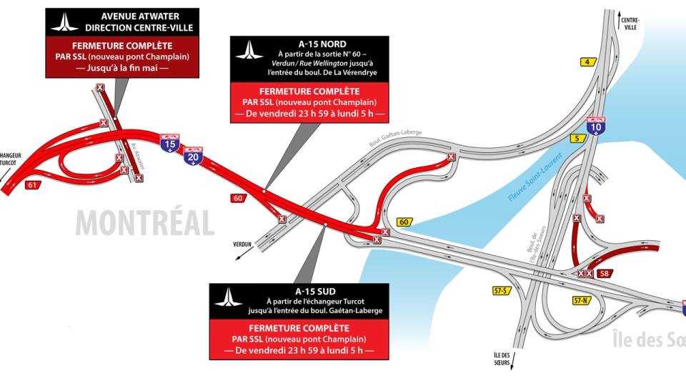 The following routes near the Champlain Bridge will be closed the weekend of May 10, 2019.