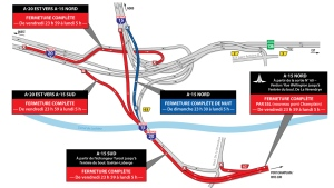 The following routes through the Turcot will be closed the weekend of May 10, 2019.