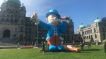 A balloon nicknamed 'Baron Von Fender Bender' is seen outside the B.C. legislature in Victoria on Wednesday, May 8, 2019. (Bhinder Sajan / CTV News Vancouver)