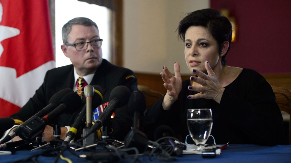 Vice-Admiral Mark Norman and his lawyer Marie Henein attend a press conference in Ottawa on Wednesday, May 8, 2019. (THE CANADIAN PRESS/Sean Kilpatrick)