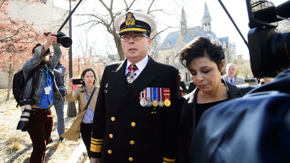 Vice Admiral Mark Norman arrives to court with lawyer Marie Henein in Ottawa on Wednesday, May 8, 2019. THE CANADIAN PRESS/Sean Kilpatrick