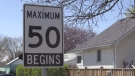 A 50 km/h speed limit sign is pictured in this file photo.