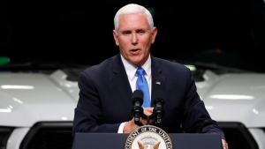 FILE - In this Wednesday, April 24, 2019 file photo, Vice President Mike Pence speaks at an auto industry discussion of the new United States-Mexico-Canada Agreement in Taylor, Mich. (AP Photo/Paul Sancya, File)