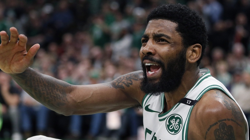 Boston Celtics' Kyrie Irving looks for a foul call in Boston, on May 3, 2019. (Michael Dwyer / AP)