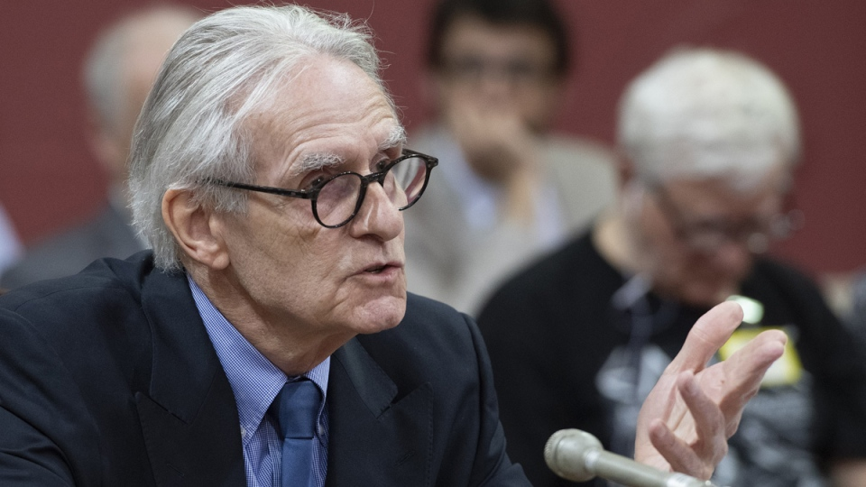 Gerard Bouchard, co-author of the Bouchard-Taylor report on reasonable accommodations, speaks at a legislature committee studying Bill 21, on May 8, 2019. (Jacques Boissinot / THE CANADIAN PRESS)