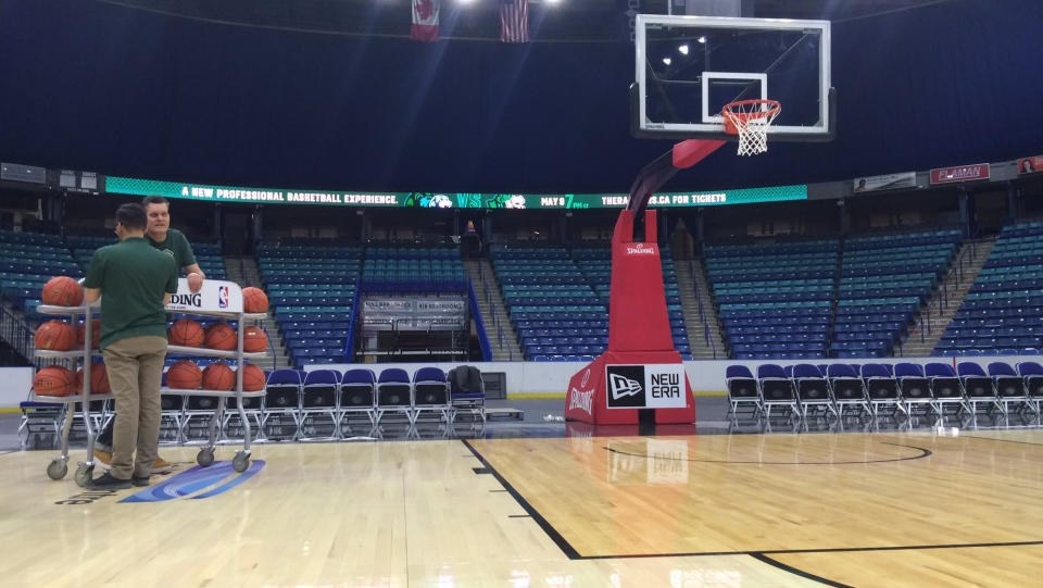 The Saskatchewan Rattlers bought the court surface previously used by the Toronto Raptors. (Pat McKay/CTV Saskatoon)