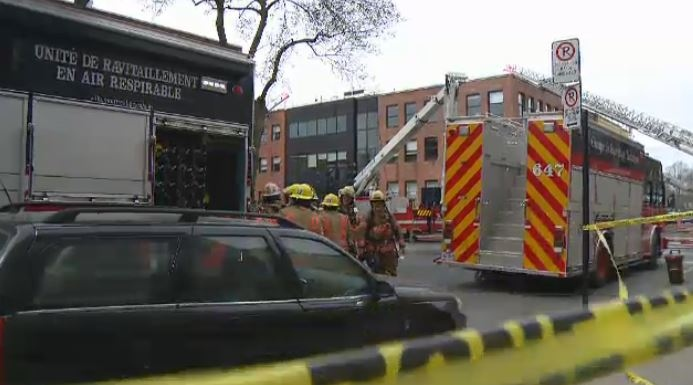 A five-alarm fire broke out in an office building in Hochelaga-Maisonneuve on Thursday afternoon.