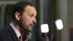Opposition Leader Ryan Meili speaks to media during budget bay at the Legislative Building in Regina on Wednesday March 20, 2019. Saskatchewan's Opposition NDP leader is apologizing for the Sixties Scoop. THE CANADIAN PRESS/Michael Bell