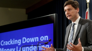 B.C. Attorney General David Eby talks about the details found in a recent report done by an expert panel about billions in money laundering in the province during a press conference at Legislature in Victoria, B.C., on Thursday, May 9, 2019. (Chad Hipolito / The Canadian Press)