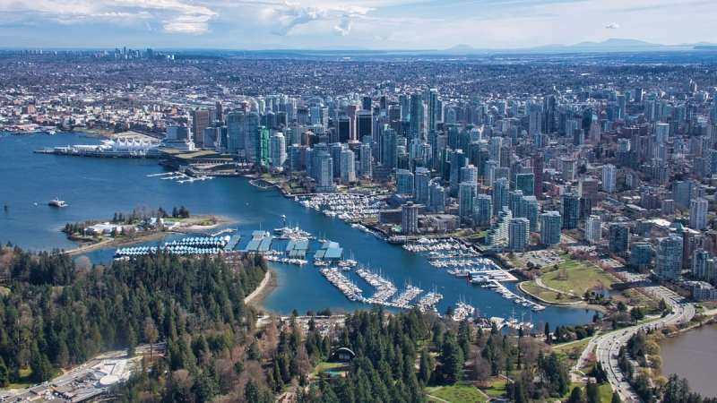 Vancouver's skyline is seen in an image from CTV News Vancouver's Pete Cline captured in May 2019 from Chopper 9
