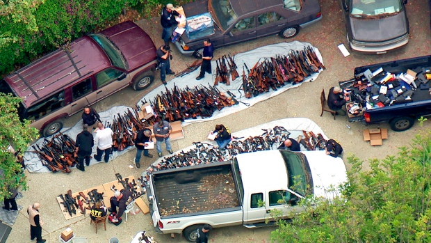 Tip triggers haul of 1,000 guns at mansion of Getty ex-mistress