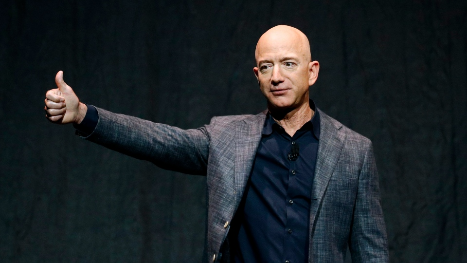 Jeff Bezos speaks at an event before unveiling Blue Origin's Blue Moon lunar lander, Thursday, May 9, 2019, in Washington. (AP Photo/Patrick Semansky)