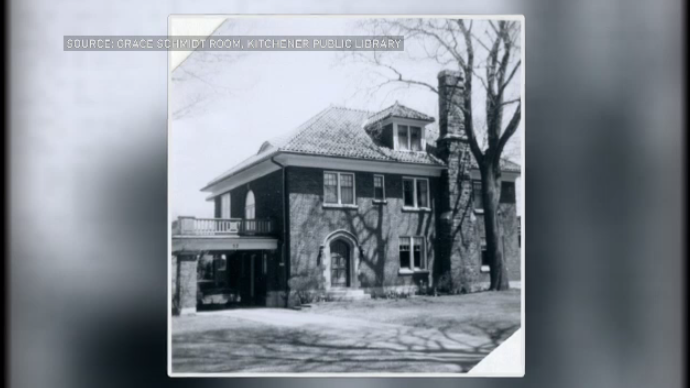 A black-and-white photo of a home
