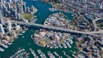 Granville Island and the Granville Street Bridge are seen from the air in spring 2019. (Pete Cline / CTV News Vancouver)