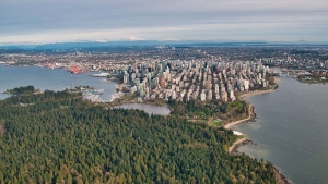 Stanley Park and the Vancouver skyline are seen from above in spring 2019. (Pete Cline / CTV News Vancouver)
